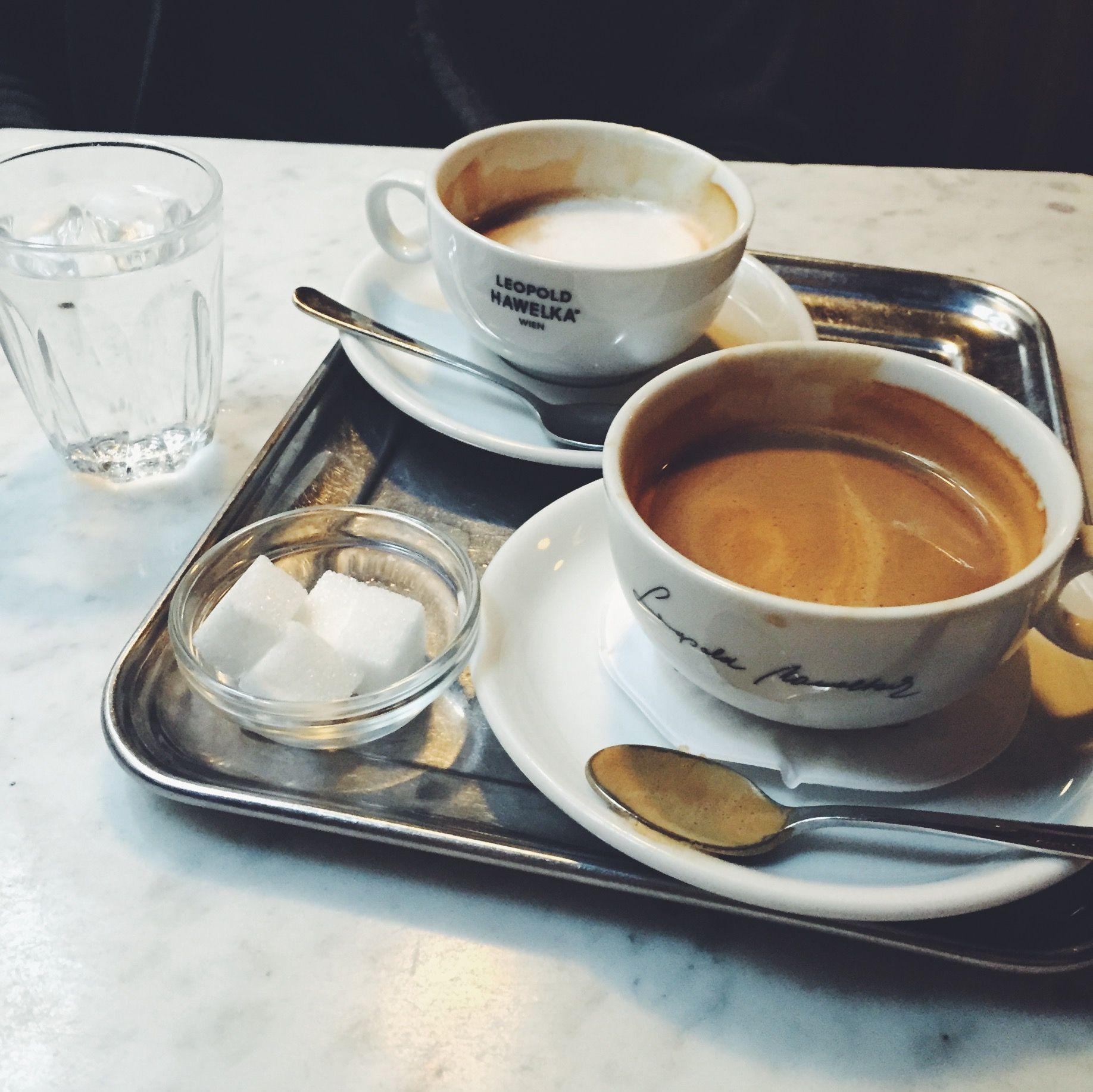 melange coffee at Cafe Hawelka in Vienna, Austria