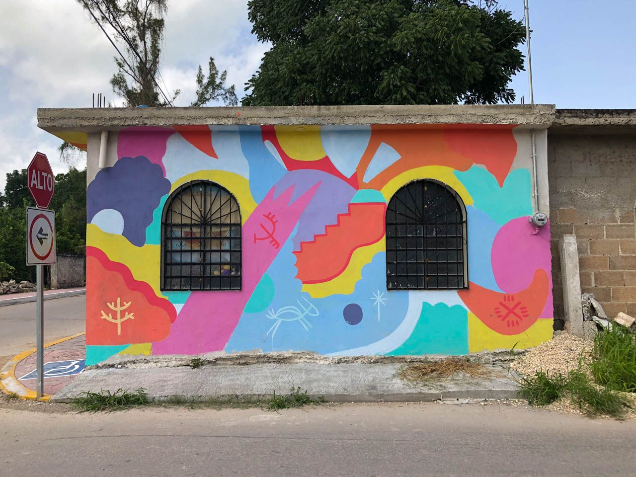 Colorful house in Bacalar, Mexico.