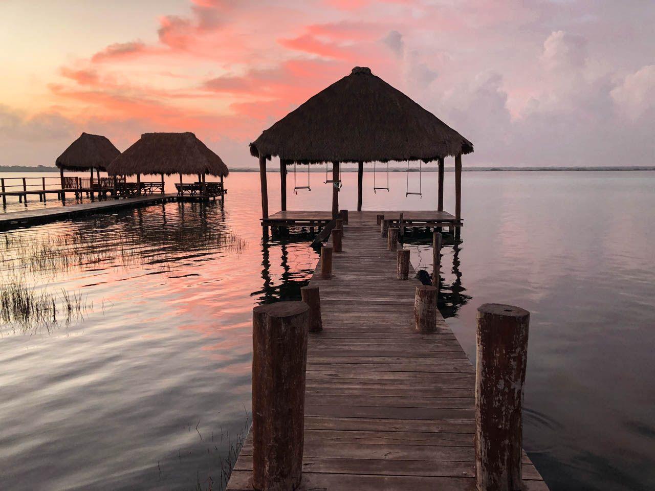 Sunrise on Lake Bacalar, Mexico.