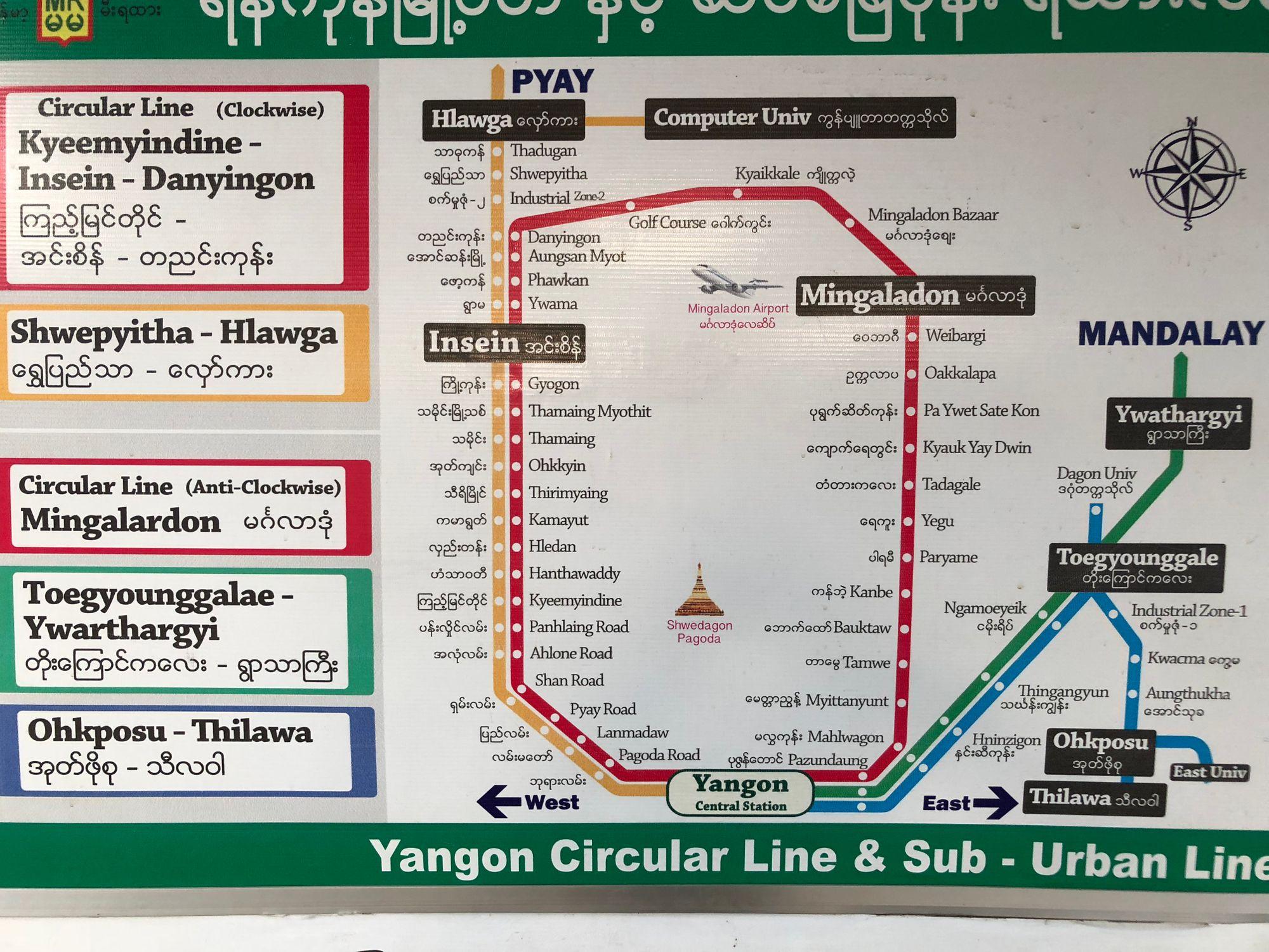 Yangon Circular Line Map.