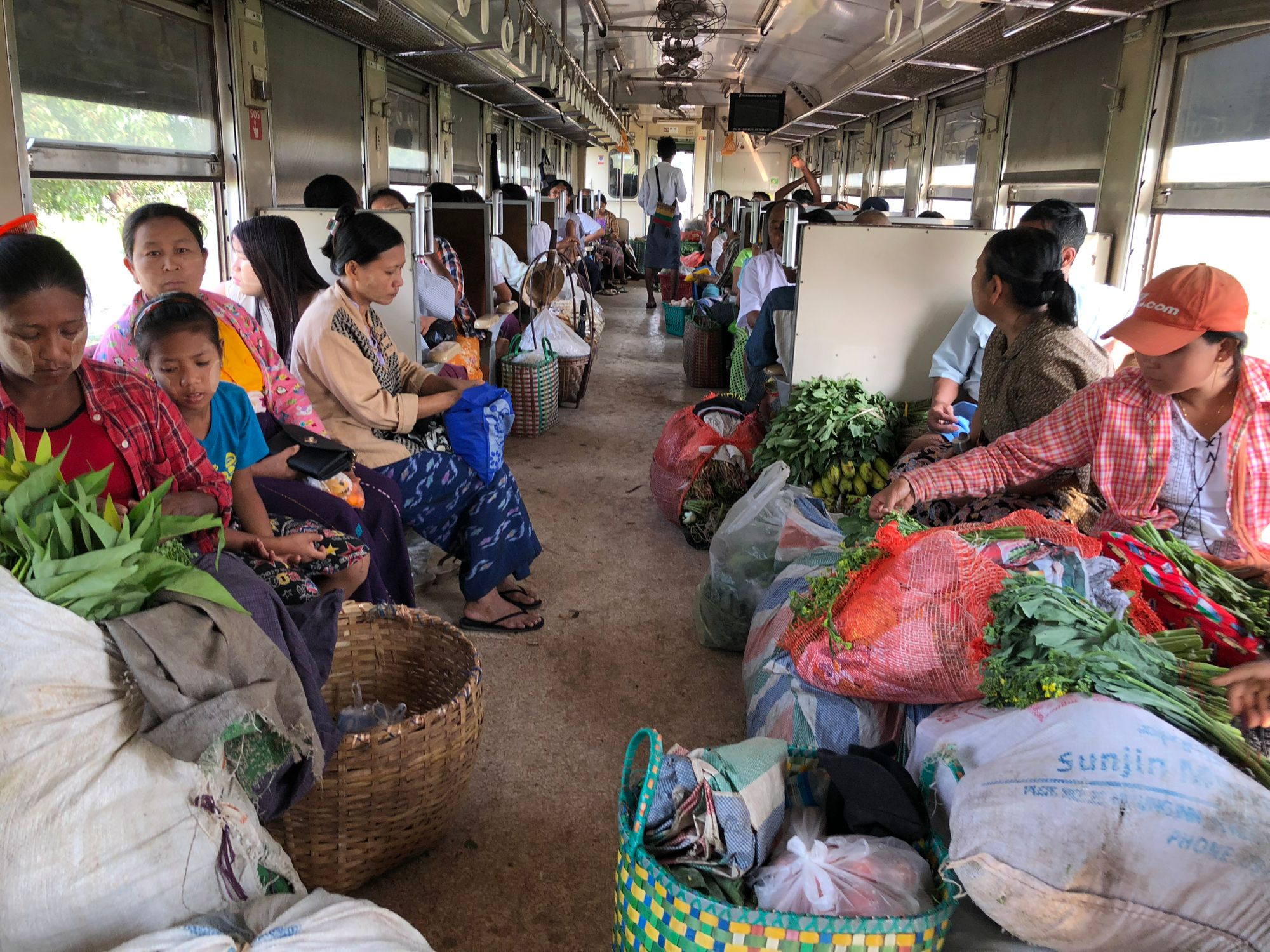 Daily commute on the Circle Train in Yangon, Myanmar