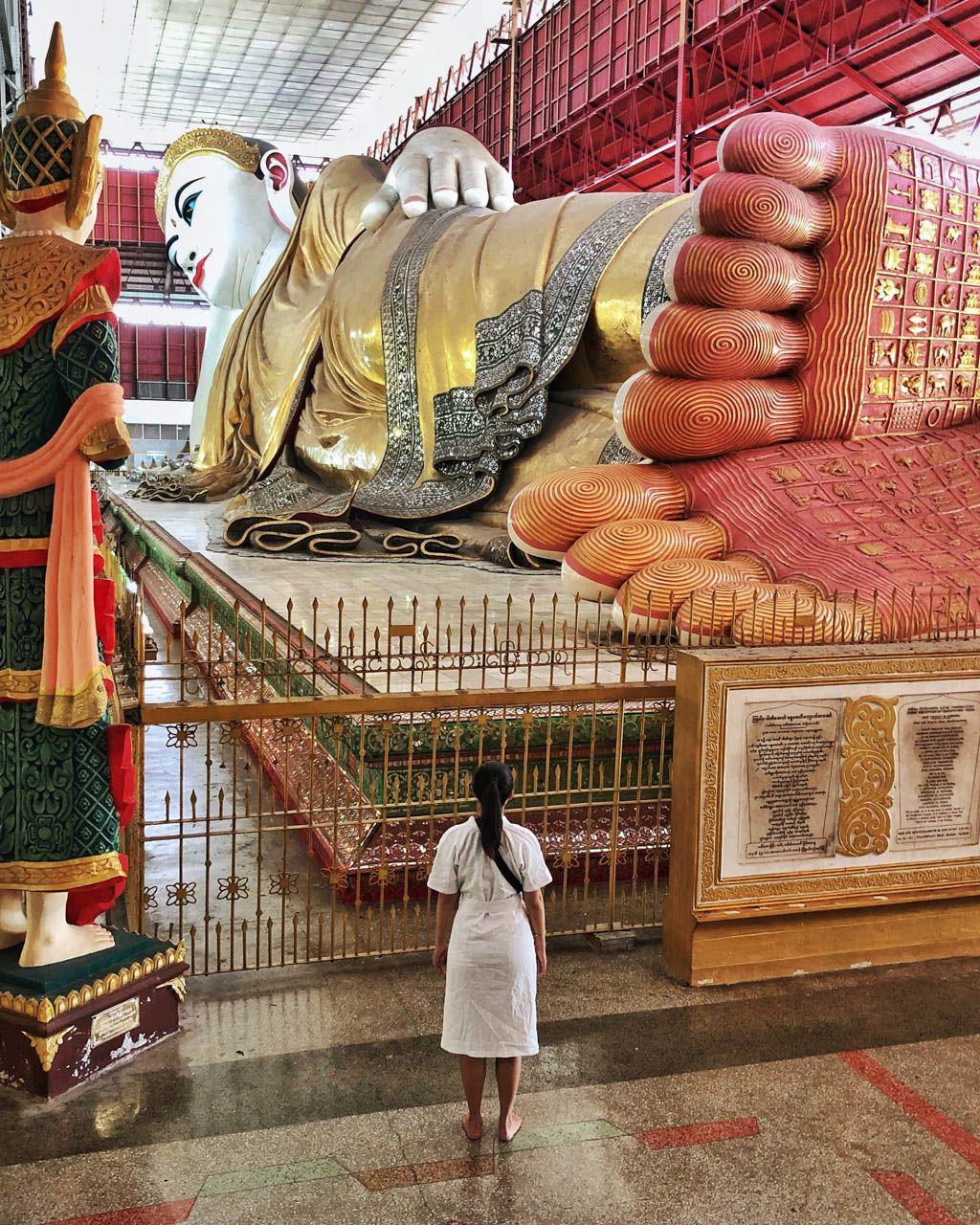 Reclining Buddha in Yangon, Myanmar.