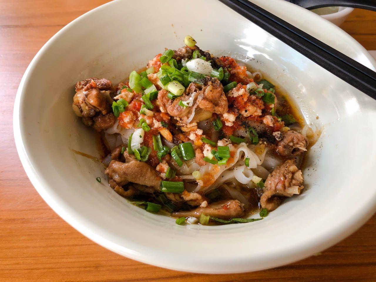 Shan noodles in Yangon, Myanmar.