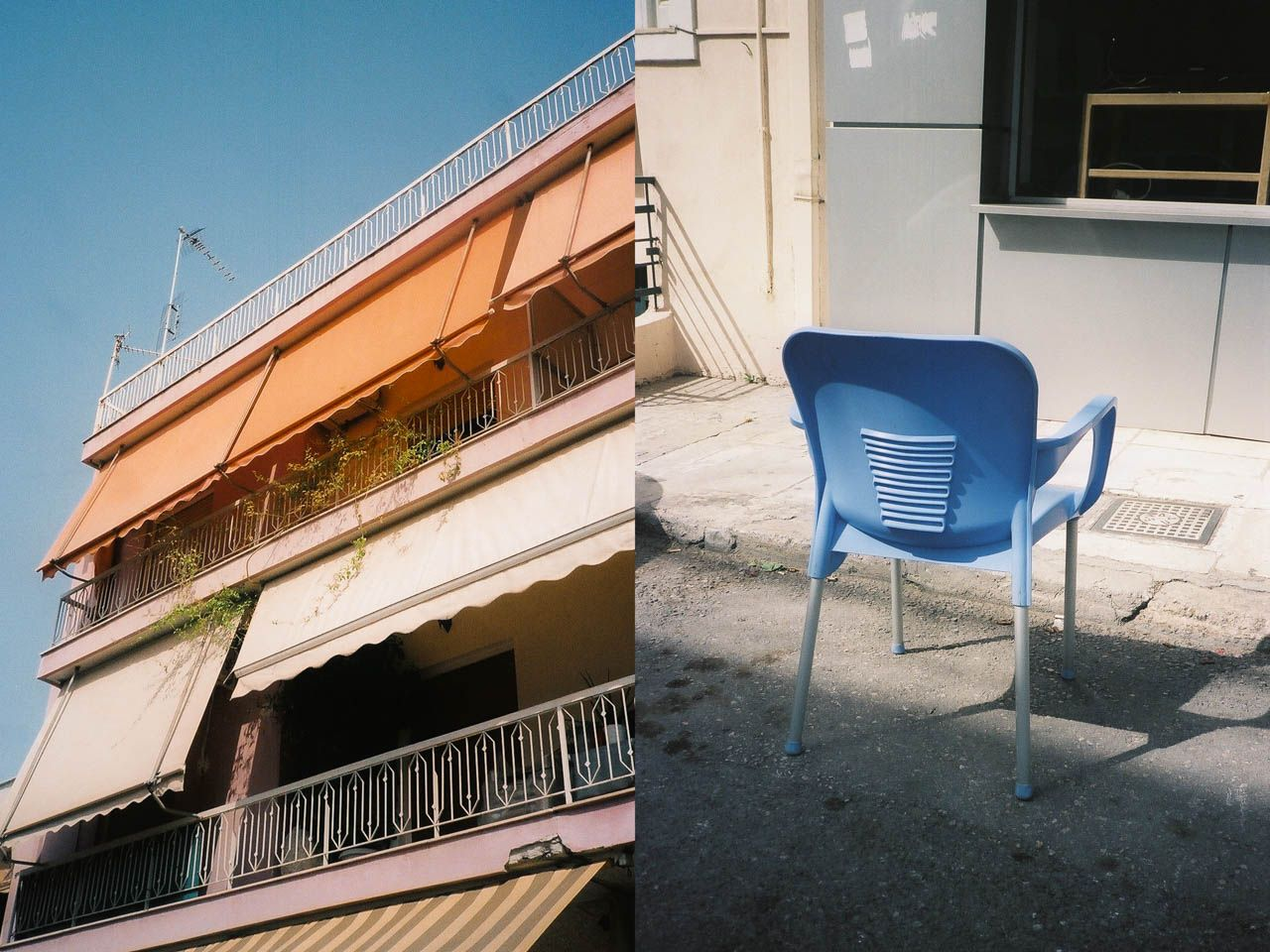 Awning and chairs in Athens, Greece.